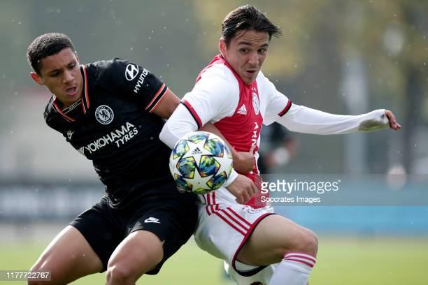 Henry Lawrence of Chelsea U19 Filip Frei of Ajax U19 during the match between Ajax U19 v Chelsea U19 at the De Toekomst on October 23 2019 in...