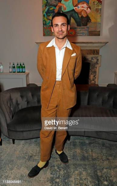 Henry Lloyd-Hughes attends a private dinner hosted by Louis XIII with cellar master Baptiste Loiseau at The Arts Club on March 26, 2019 in London,...