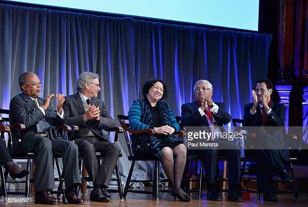 Henry Louis Gates Jr Steven Spielberg Sonia Sotomayor David Stern and Tony Kushner attend the 2013 WEB Du Bois Medal at a ceremony at Harvard...