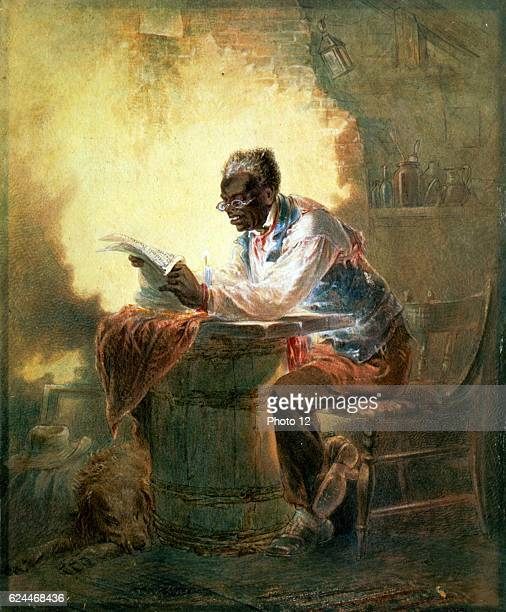 Henry Louis Stephens Amercian school African American man reading a newpaper with the headline Presidential Proclamation Slavery which refers to...