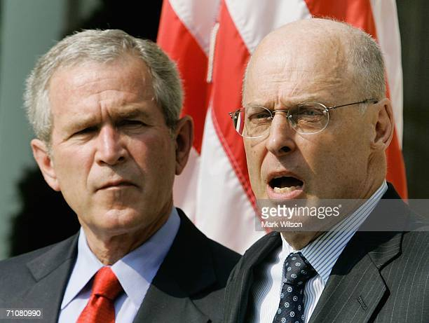 Henry M. Paulson Jr. Speaks after U.S. President George W. Bush nominated him to be Treasury Secretary during an event in the Rose Garden May 30,...