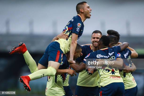 Henry Martin of America celebrate with teammates after scoring the third goal of his team during the 5th round match between America and Lobos BUAP...