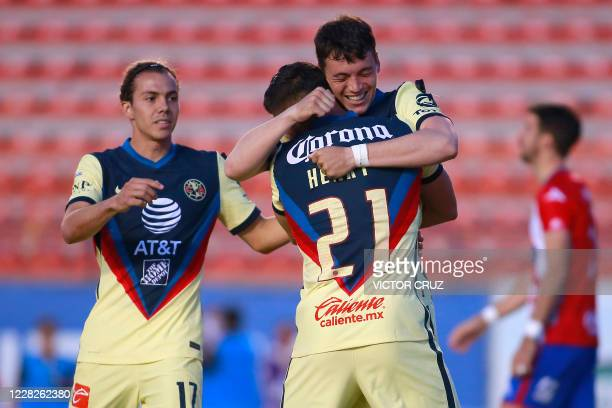 Henry Martin of America celebrates after scoring against Atletico de San Luis during their Guardianes 2020 tournament football match at Alfonso...
