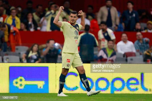 Henry Martin of America celebrates after scoring his team's first goal during a 15th round match between Club America and Toluca as part of Torneo...