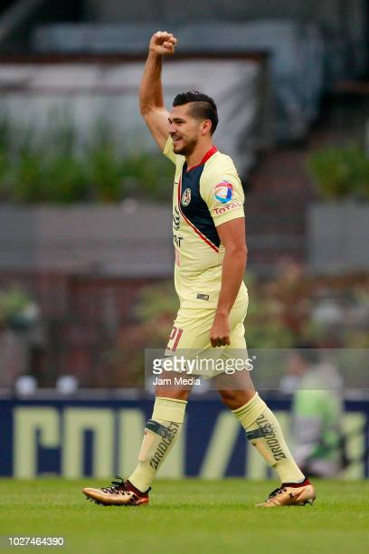 Henry Martin of America celebrates after scoring the first goal of his team during a Group G match between America and Dorados as part of Copa MX...