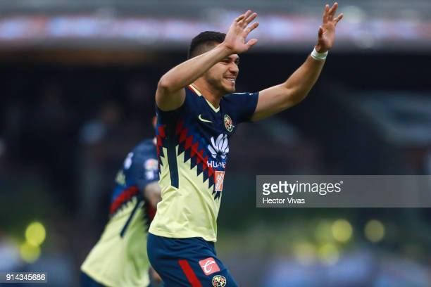 Henry Martin of America celebrates after scoring the first goal of his team during the 5th round match between America and Lobos BUAP as part of the...