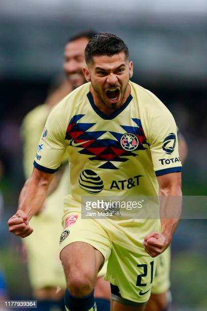 Henry Martin of America celebrates after scoring the fourth goal of his team during the 12th round match between America and Chivas as part of the...