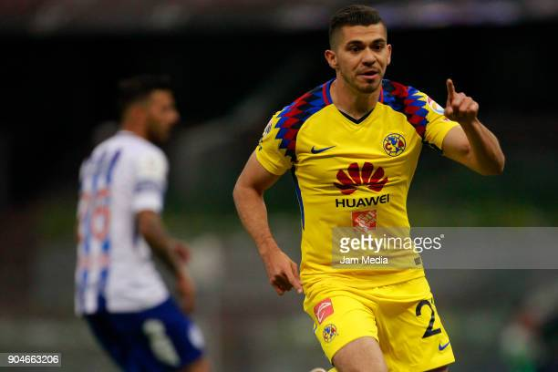 Henry Martin of America celebrates after scoring the second goal of his team during the second round match between America and Pachuca as part of the...
