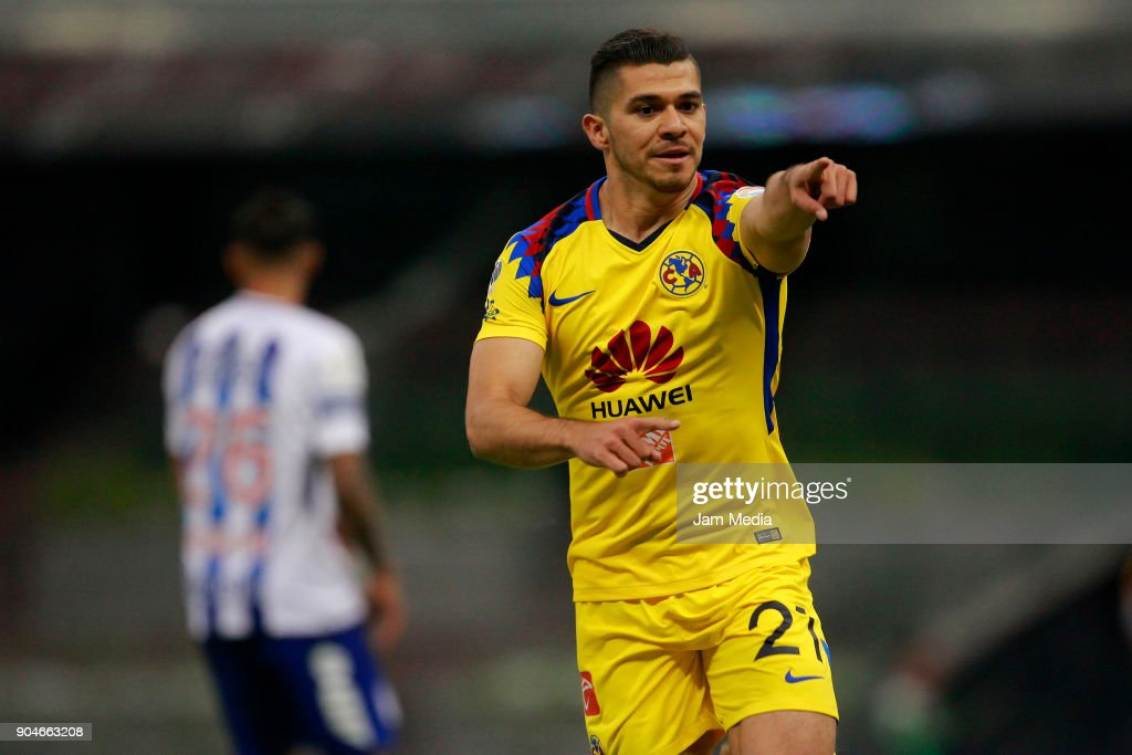 Henry Martin of America celebrates after scoring the second goal of his team during the second round match between America and Pachuca as part of the Torneo Clausura 2018 Liga MX at Azteca Stadium on January 13, 2018 in Mexico City, Mexico.