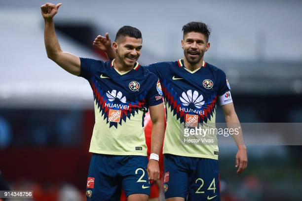 Henry Martin of America celebrates after scoring the second goal of his team during the 5th round match between America and Lobos BUAP as part of the...