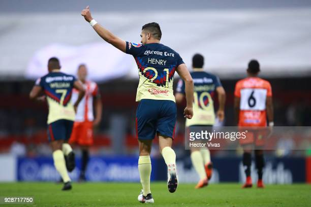Henry Martin of America celebrates after scoring the second goal of his team during the match between America and Tauro FC as part of the CONCACAF...