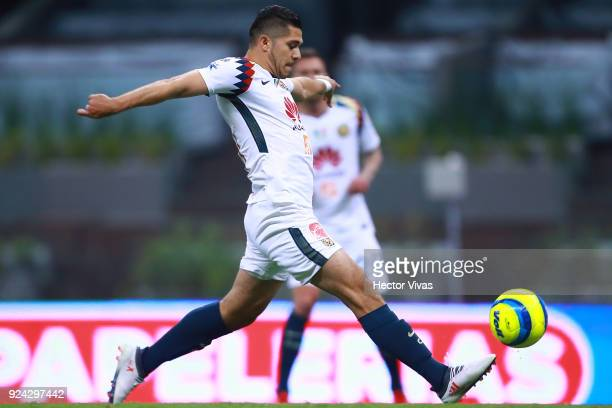 Henry Martin of America plays the ball during the 9th round match between America and Tijuana as part of the Torneo Clausura 2018 Liga MX at Azteca...