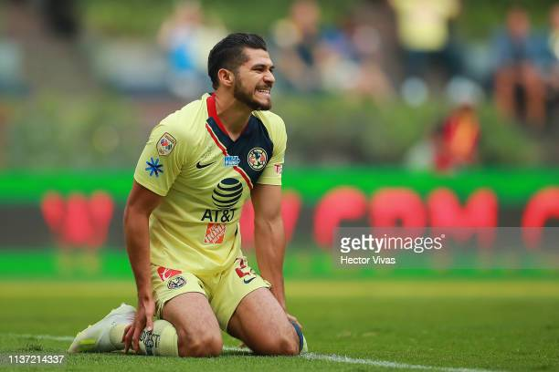 Henry Martin of America reacts during the 14th round match between America and Cruz Azul as part of the Torneo Clausura 2019 Liga MX at Azteca...