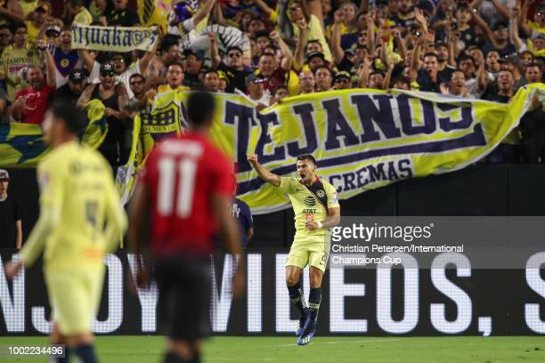 Henry Martin of Club America celebrates a goal during the International Champions Cup game against the Manchester United at the University of Phoenix...