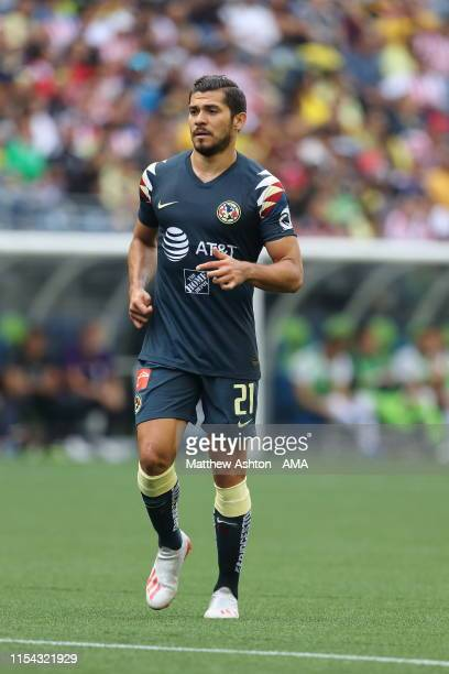 Henry Martin of Club America during a friendly match between Club America and River Plate as part of the Colossus Cup 2019 at CenturyLink Field on...