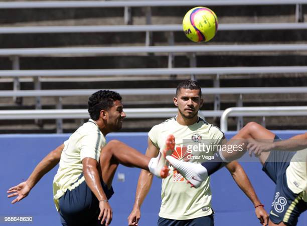 Henry Martin of Club America warms up up during the trainin session at Cotton Bowl on June 29 2018 in Dallas Texas