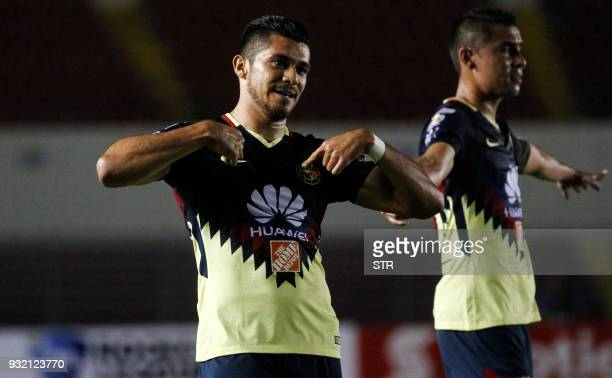 Henry Martin of Mexican team America celebrates after scoring against Panama's Tauro during the second leg match of the Concacaf Champions League...