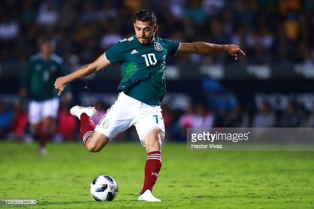Henry Martin of Mexico drives the ball during the international friendly match between Mexico and Costa Rica at Universitario Stadium on October 11,...