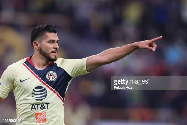 Henry Martín of America celebrates after scoring the opening goal during the 2nd round match between Atlas and America as part of the Torneo Clausura...