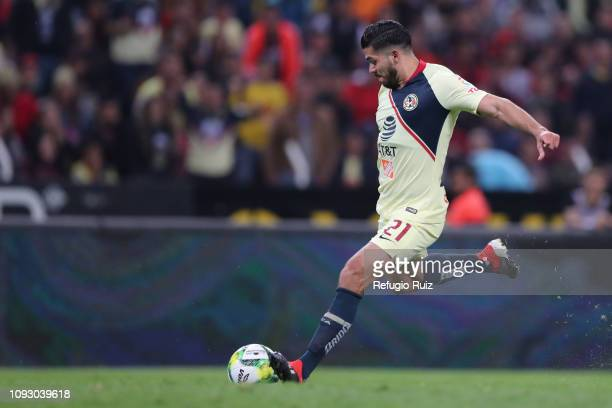 Henry Martín of America drives the ball during the 2nd round match between Atlas and America as part of the Torneo Clausura 2019 Liga MX at Jalisco...
