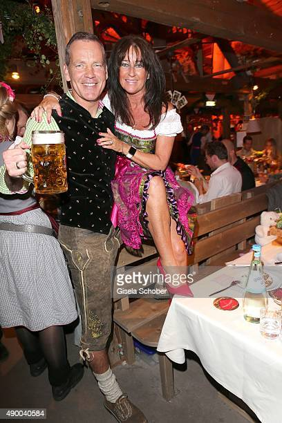 Henry Maske and his wife Manuela Maske during the Oktoberfest 2015 at Kaeferschaenke at Theresienwiese on September 25, 2015 in Munich, Germany.