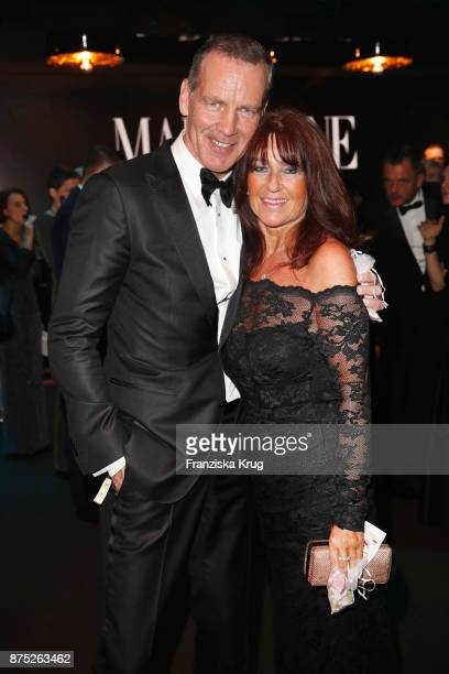 Henry Maske and his wife Manuela Maske pose at the Bambi Awards 2017 party at Atrium Tower on November 16 2017 in Berlin Germany