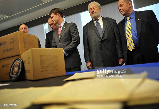 Henry Mayer senior advisor on archives at the US Holocaust Memorial Museum together with the US Immigration and Customs Enforcement Director John...