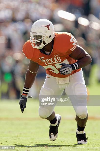 Henry Melton of the Texas Longhorns runs up the field during the game against the Baylor Bears on November 8 2008 at Darrell K RoyalTexas Memorial...