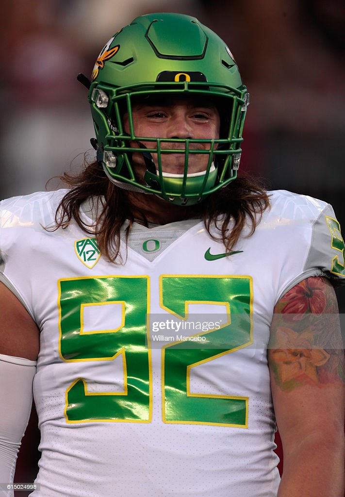 newest 2e0ed 4b7ec Henry Mondeaux of the Oregon Ducks looks on prior to the ...