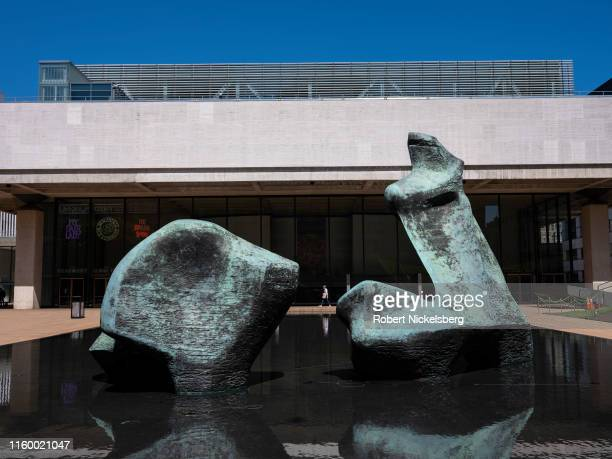 Henry Moore's bronze sculpture, Reclining Figure, is set in the Paul Milstein Pool and Terrace area at the Lincoln Center for the Performing Arts in...