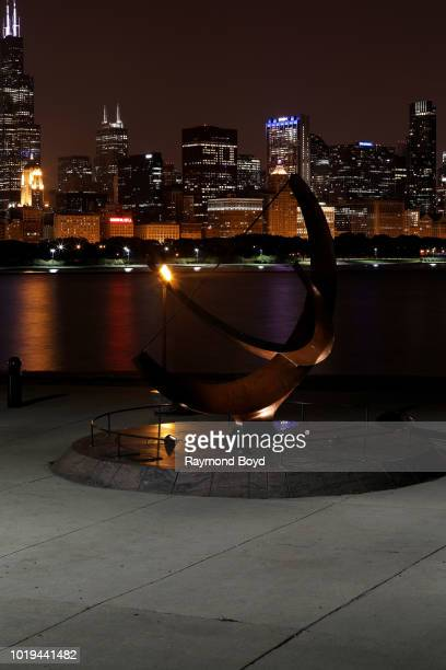 Henry Moore's 'Man Enters The Cosmos' sundial sits outside the Adler Planetarium in the Museum Campus area of downtown in Chicago Illinois on August...