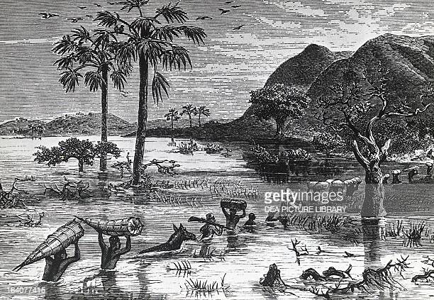 Henry Morton Stanley crossing the flooded Makata valley engraving depicting a scene from the expedition in search of David Livingstone Africa 19th...