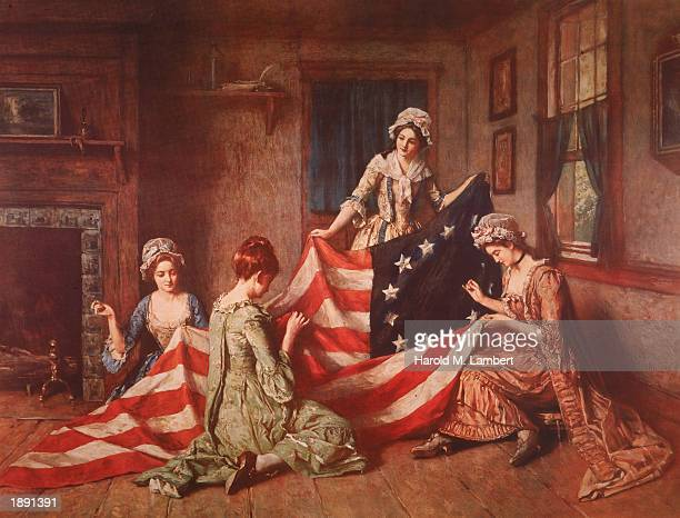 A Henry Mosler painting 'The Birth of the Flag' depicts Betsy Ross and her assistants sewing the first American flag Philadelphia Pennsylvania 1777