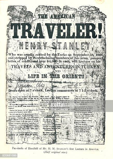 Henry MStanley Handbill from Lecture Tour in America At age 31 discovered DrLivingstone in Africa Illustration From The Strand Magazine JanuaryJune...