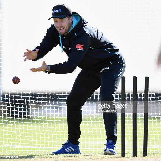 Henry Nicholls fields the ball during a New Zealand Blackcaps training session at the New Zealand Cricket High Performance Centre on May 13, 2021 in...