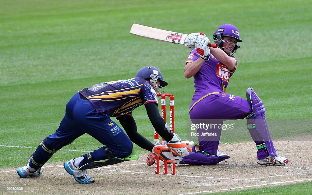 Henry Nicholls of Canterbury bats during the Georgie Pie Super Smash T20 match between the Otago Volts and the Canterbury Kings at University Oval on November 20, 2014 in Dunedin, New Zealand.