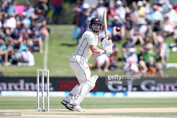 Henry Nicholls of New Zealand bats during day three of the first Test match between New Zealand and England at Bay Oval on November 23 2019 in Mount...
