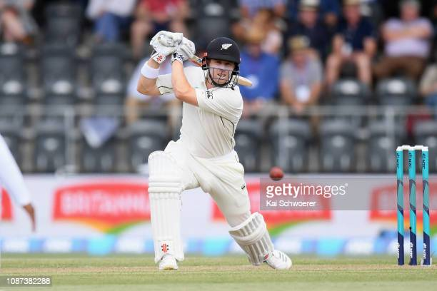Henry Nicholls of New Zealand bats during day three of the Second Test match in the series between New Zealand and Sri Lanka at Hagley Oval on...