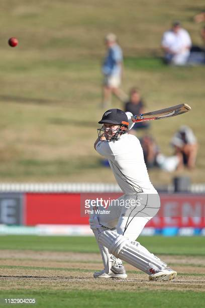 Henry Nicholls of New Zealand bats during day two of the First Test match in the series between New Zealand and Bangladesh at Seddon Park on March 01...