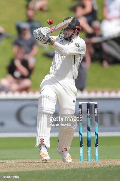 Henry Nicholls of New Zealand bats during day two of the Test match series between New Zealand Blackcaps and the West Indies at Basin Reserve on...