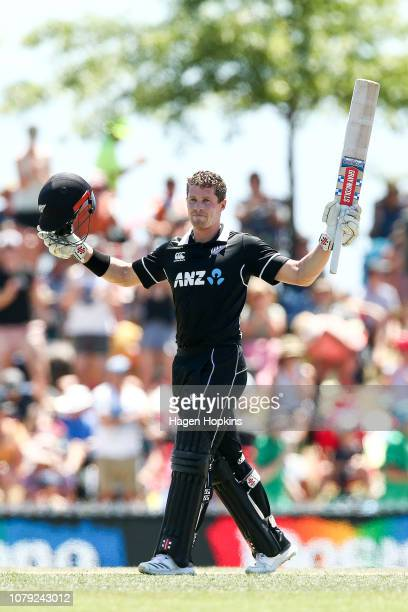 Henry Nicholls of New Zealand celebrates his century during game three of the One Day International match between New Zealand and Sri Lanka at Saxton...