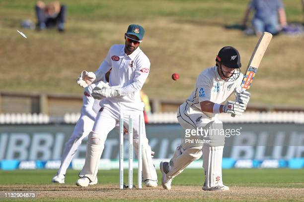 Henry Nicholls of New Zealand is bowled by Mehidy Hasan Miraz of Bangladesh during day two of the First Test match in the series between New Zealand...