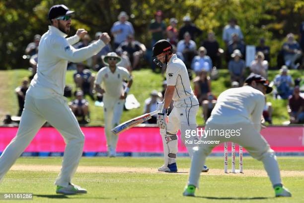 Henry Nicholls of New Zealand reacts after being dismissed by James Anderson of England during day five of the Second Test match between New Zealand...