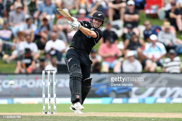 Henry Nicholls of the Black Caps bats during Game 3 of the One Day International series between New Zealand and Bangladesh at University Oval on...