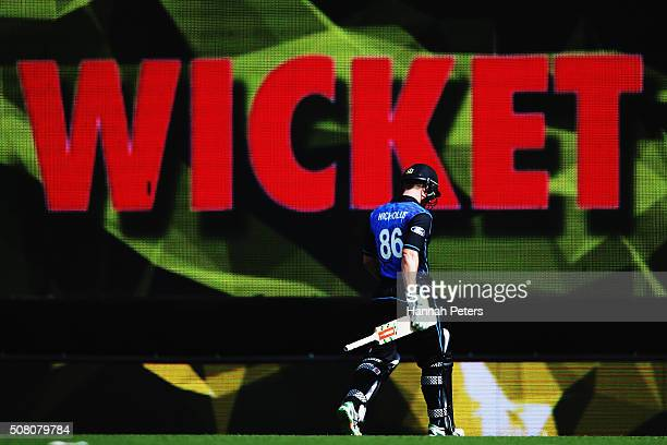 Henry Nicholls of the Black Caps walks off after being dismissed by Mitchell Marsh of Australia during the One Day International match between New...