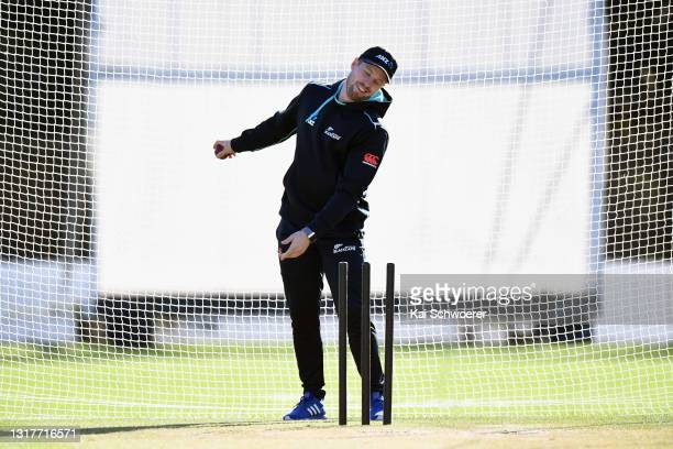 Henry Nicholls reacts during a New Zealand Blackcaps training session at the New Zealand Cricket High Performance Centre on May 13, 2021 in Lincoln,...