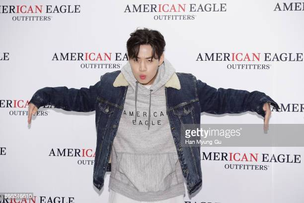 Henry of South Korean boy band Super Junior M attends the 'American Eagle Outfitters' Launch Photocall on October 25 2017 in Seoul South Korea