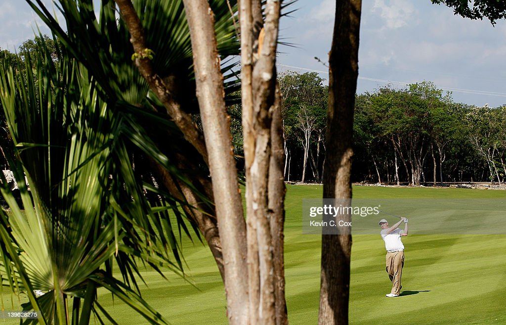 J.J. Henry of the United States plays his second shot on the 12th hole during the first round of the Mayakoba Golf Classic at Riviera Maya-Cancún held at El Camaleon Golf Club at Mayakoba on February 23, 2012 in Playa del Carmen, Mexico.