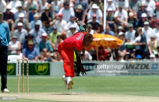 Henry Olonga bowling for Zimbabwe during the 3rd One Day International between Zimbabwe and England at Harare, Zimbabwe, 20th February 2000.