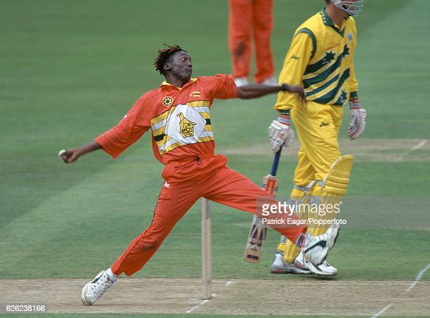 Henry Olonga bowling for Zimbabwe during the World Cup Super Six match between Australia and Zimbabwe at Lord's Cricket Ground, London, 9th June...
